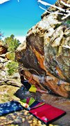 Rock Climbing Photo: Hitting the left hand bump at the arete, from ther...