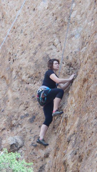 "Rock Climbing Photo: A climber enjoying the pockets on ""Aqua Negro..."