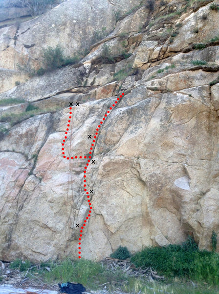 You can either choose to stay in the crack at bolt 4, and traverse left and climb the face under the belay bolts.