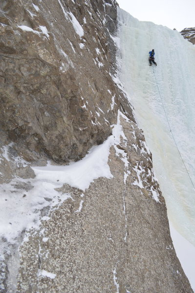 The second pitch of 'High on Boulder,' February 2014