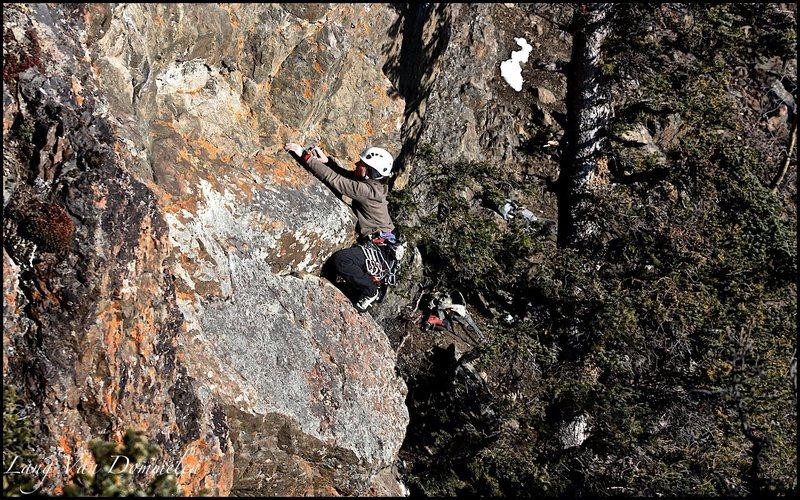 Rock Climbing Photo: Karina moves above Resolution Crack onto Kids
