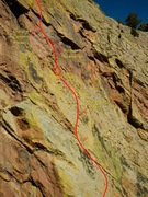 Rock Climbing Photo: End of 1st pitch, belay ledge, and the start of th...