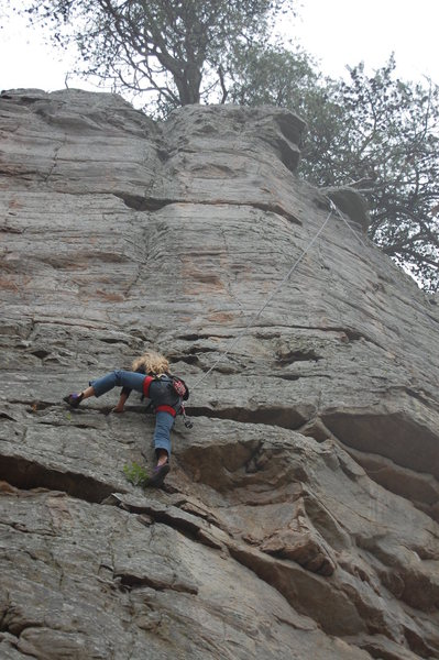 Climber is actually on Micro Gulley, but top roping using the the anchor for Boobs.
