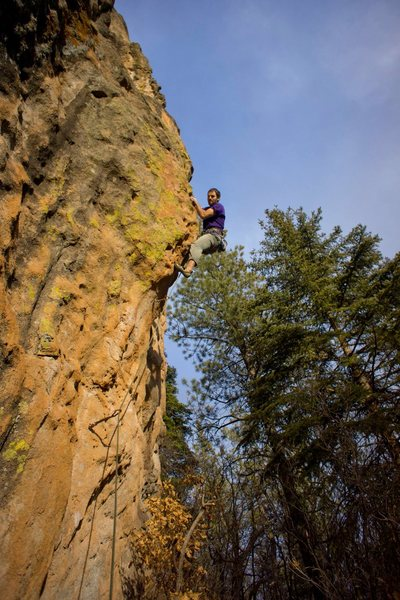 Aaron Miller on the juggy arete.