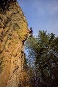 Rock Climbing Photo: Aaron Miller on the juggy arete.