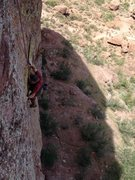 Rock Climbing Photo: Terry approaching the top of pitch 1 on Chimera