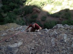 Rock Climbing Photo: Terry Woolston topping on pitch 1