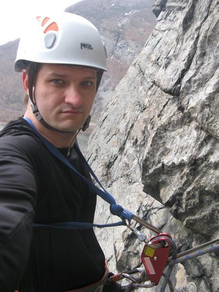 Rock Climbing Photo: Jonah Solo at 2nd Pitch before traverse.