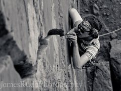 Rock Climbing Photo: Ode to the 70's. Cutoffs, swami belt, hexes, bowli...