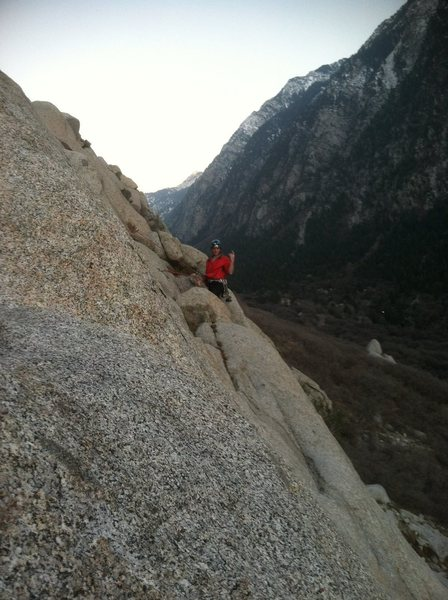 Rock Climbing Photo: Spencer on the other side of the second pitch of P...