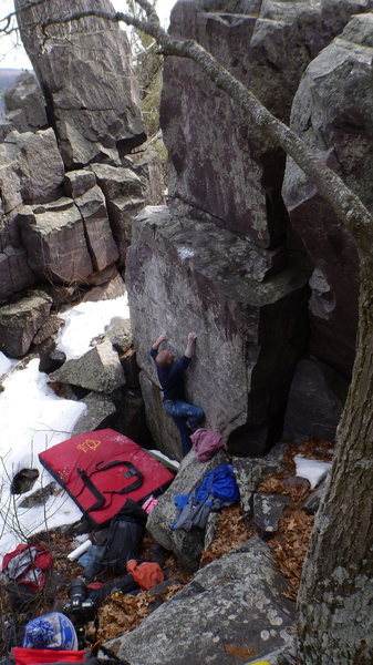 Rock Climbing Photo: Nic loading the crimps.