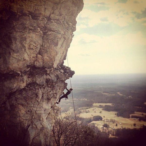 Rock Climbing Photo: Mackenzie soaking up the exposure on Grace Under P...