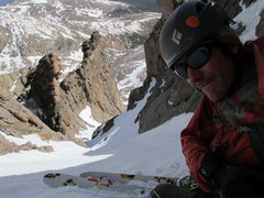 Rock Climbing Photo: Skiing Dreamweaver on Mt. Meeker. This line needs ...