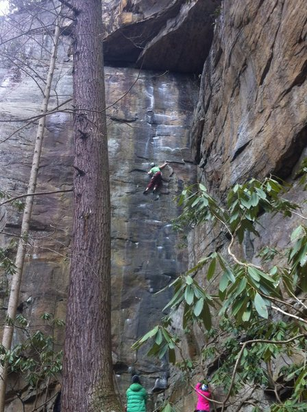 Rock Climbing Photo: KS trying to keep her fingers from freezing on thi...