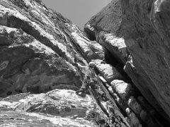 Rock Climbing Photo: Angie, avoiding the crack