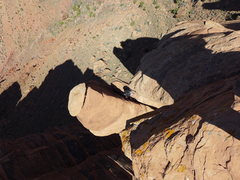 Rock Climbing Photo: looking down at the P2 belay from the summit
