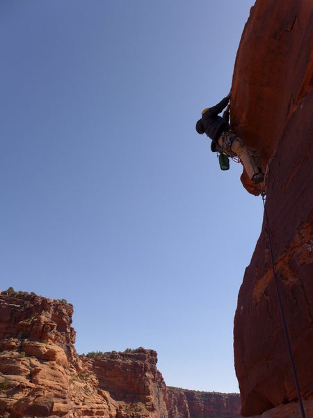 Rock Climbing Photo: Vanya on sketchy TR for the summit block (I found ...