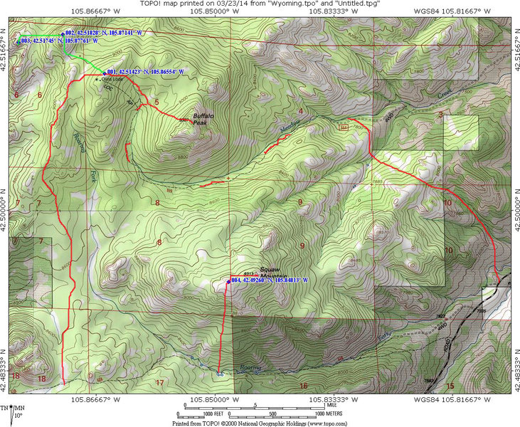 Map for approach to Squaw Peak.