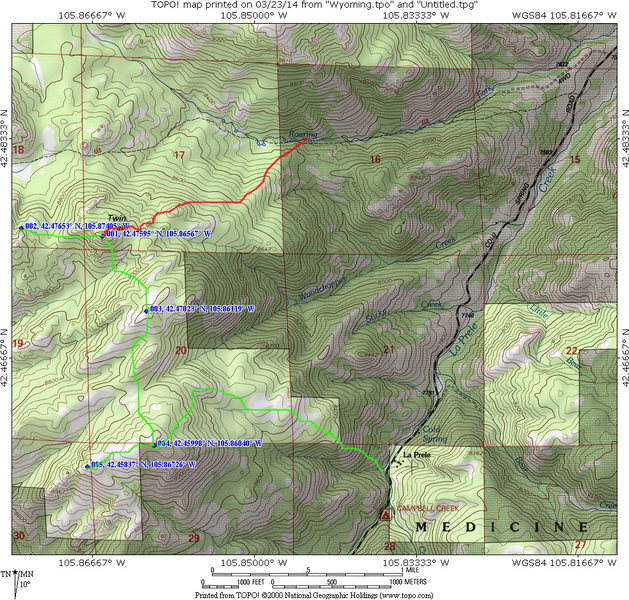 Map showing Twin Peaks Hiking Trail and an additional loop hike to some other points >9000 feet.