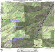 Rock Climbing Photo: Map showing Twin Peaks Hiking Trail and an additio...