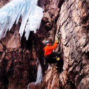 Rock Climbing Photo: Tom Gosselin on Tic Tac  The ice was severely melt...