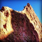 Rock Climbing Photo: Ryan Derrick leading up the ridge on Christmas Day...