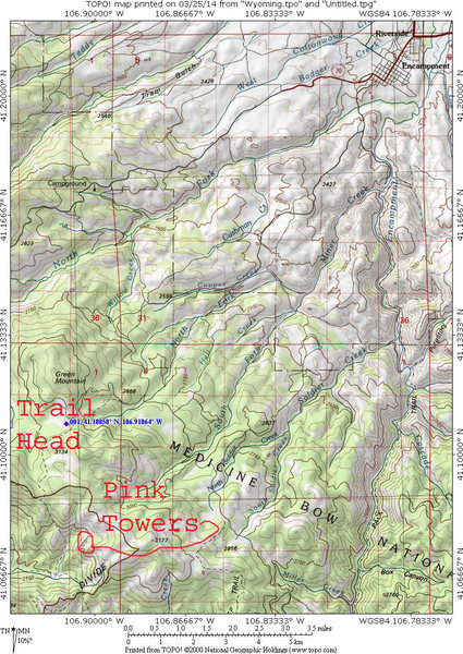 Map 1:  Getting from Encampment to the trail head.