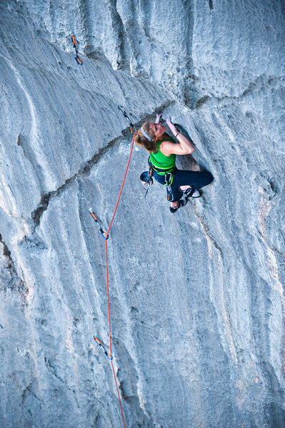 Keith Ladzinski photo of Whitney Boland climbing Vesper. Lime Kiln Canyon.