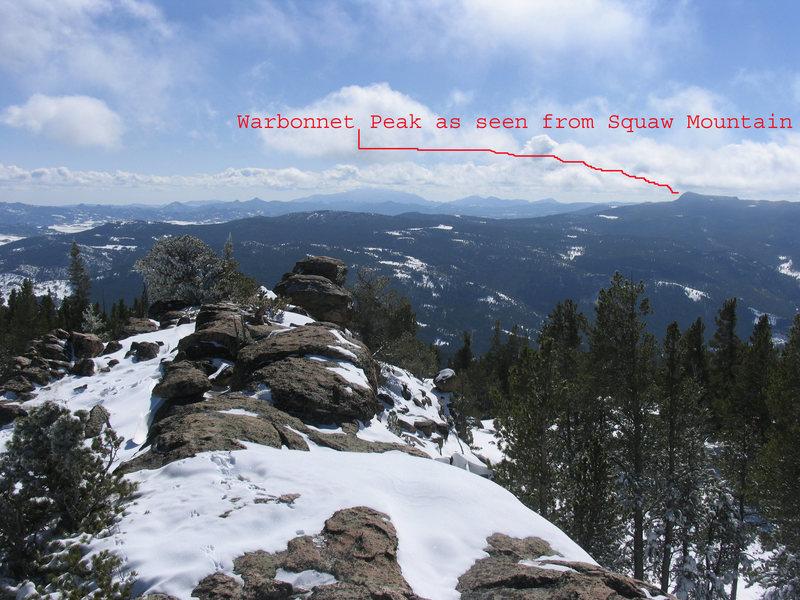 Warbonnet Peak as seen from Squaw Mountain.