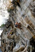 Rock Climbing Photo: Mike Holley pulling through the beginning to the e...
