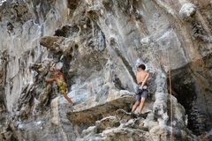 """Rock Climbing Photo: Wade Plafcan making the infamous """"leap of fai..."""