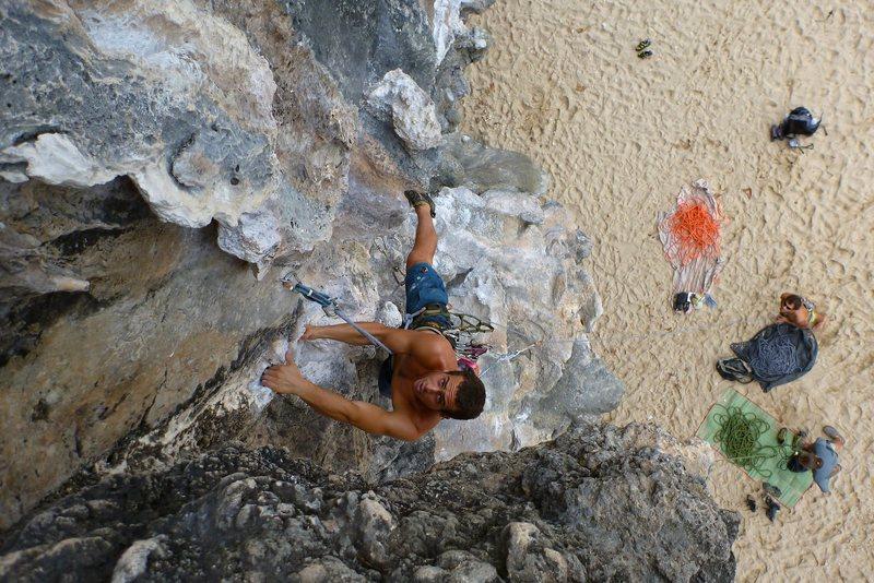 Rock Climbing Photo: Brett Sherman strutting his stuff on Stalagasaurus...