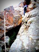 Rock Climbing Photo: Ben Michaels starting the boulder-y crux.