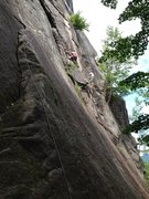 Rock Climbing Photo: Climbing Toe Crack with Peter Berard, Cathedral Le...