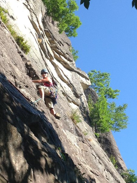 H leading P1 of Thin Air, Cathedral Ledge, NH