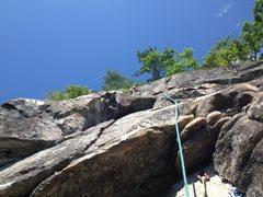 Rock Climbing Photo: Heather Selitrennikoff leading last pitch of Thin ...