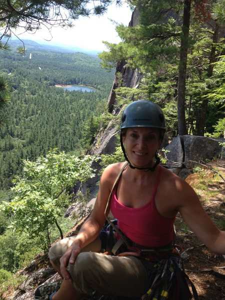 Heather Selitrennikoff at top of last pitch of Thin Air