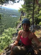 Rock Climbing Photo: Heather Selitrennikoff at top of last pitch of Thi...