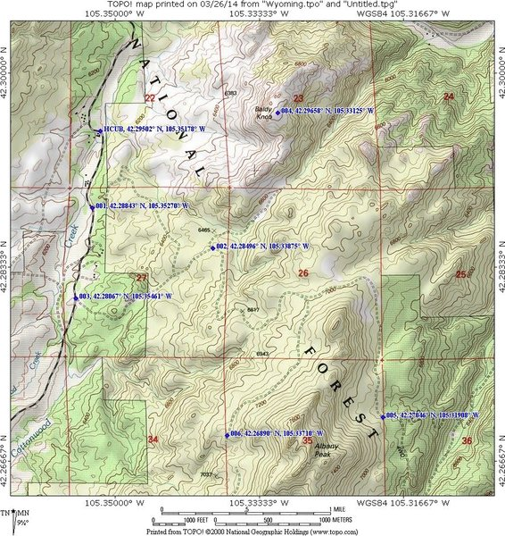 Rock Climbing Photo: Map for driving directions to Albany Peak and Bald...