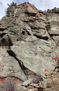 Rock Climbing Photo: Routes on Warner Brothers Pinnacle: #1 - Tweety. #...