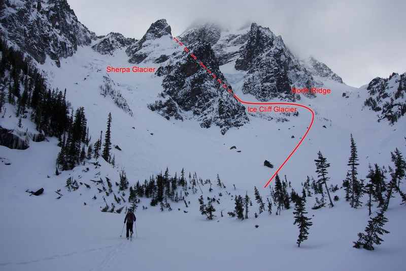 Approaching camp below Mount Stuart's North Face during our climb of the Ice Cliff Glacier