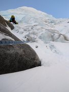Rock Climbing Photo: Leading the short ice section in late March