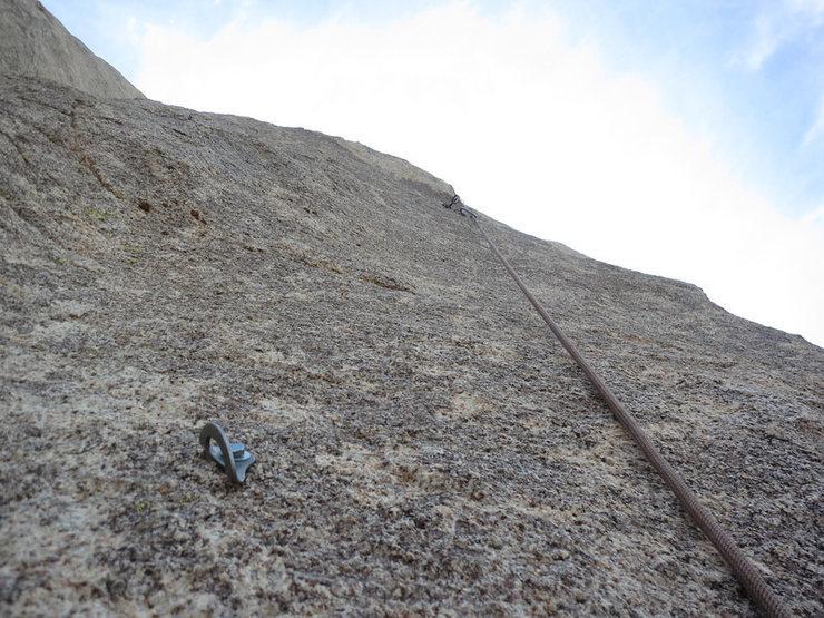 Rock Climbing Photo: Looking up mid 2nd pitch of Santa Cruz.
