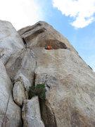 Rock Climbing Photo: Kazu climbing the exciting ramp to gain the face o...