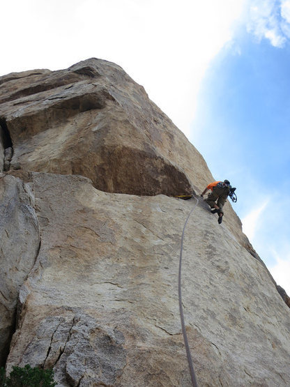 Rock Climbing Photo: Kazu climbing the exciting ramp to gain the face o...