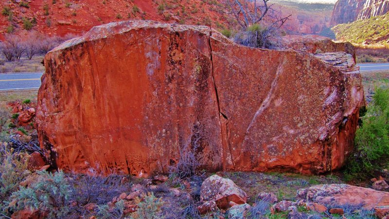 Rock Climbing Photo: The Diane Boulder, located next to CO Highway 141,...