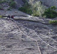 Rock Climbing Photo: Knobby slab on pitch 1 of Magic Bus. Photo: Chuck ...