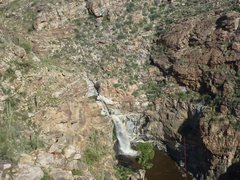 Looking down at Tanque Verde Falls from the upper ridge. Line shown in red.