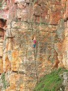 Rock Climbing Photo: Xiao Man slumming up a peasant's route
