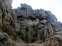 Rock Climbing Photo: Looking up at the Presidents area, including the r...